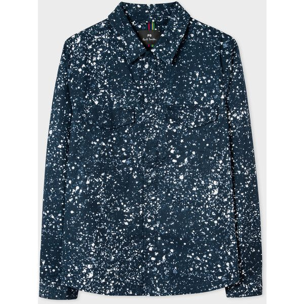 PS Paul Smith Veste Surchemise Homme Bleu Marine 'Paint Splash' En... (820 BRL) ❤ liked on Polyvore featuring men's fashion, men's clothing, men's outerwear, men's vests, blue, mens navy blue jacket, mens leopard print jacket, mens navy jacket and mens leather sleeve jacket