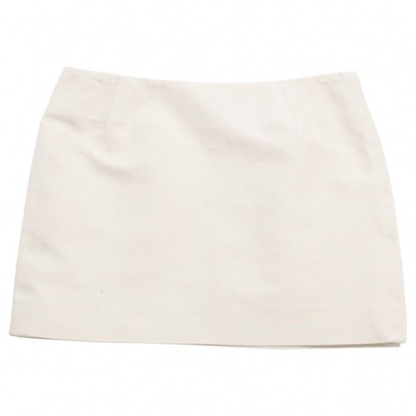Pre-owned Louis Vuitton Mini Skirt ($109) ❤ liked on Polyvore featuring skirts, mini skirts, ecru, short skirts, short white skirt, mini skirt, white skirt and louis vuitton