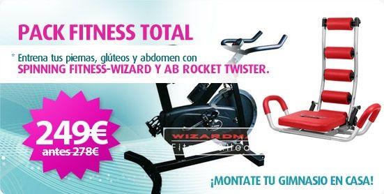 Llévate este fantástico Pack Fitness Total compuesto por la aparato de abdominales para casa Ab Rocket Twister + Bicicleta de Spinning Fitness-Wizard por tan solo 249€. Envío en 24-48h www.fitness-house.eu
