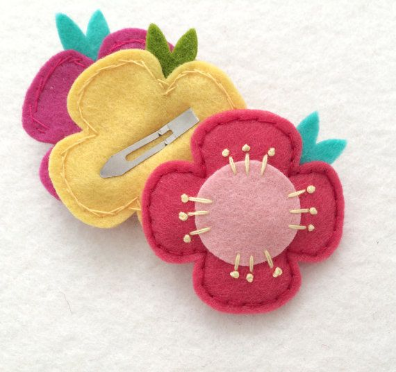 Strawberry Pink Flower Felt Hair Snap Clip for Toddlers and Small Girls