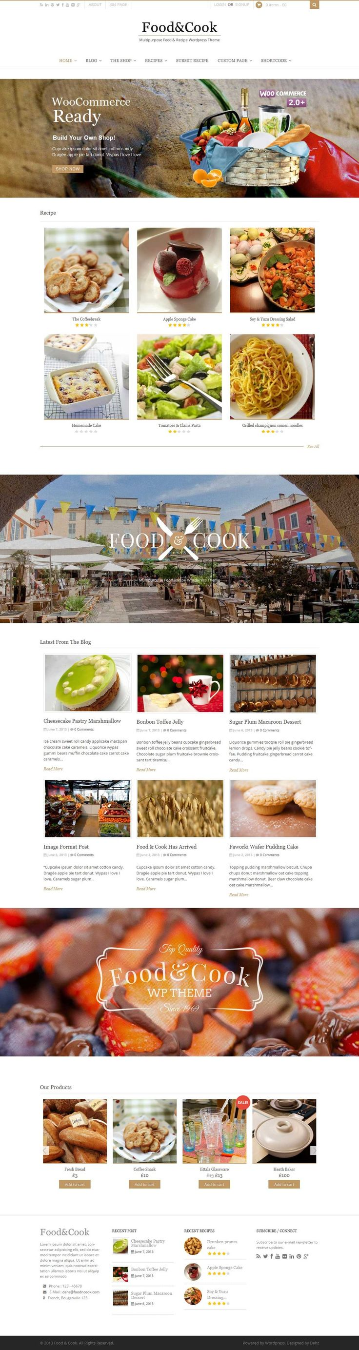 Food & Cook is your Food Blog Wordpress Theme, sharing recipes and cooking tips can't get any easier than this.