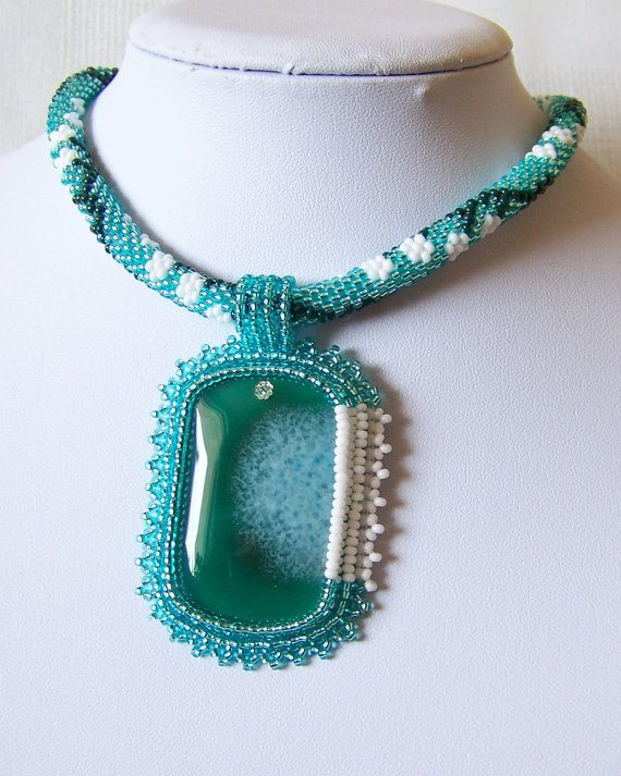 Bead Embroidery Pendant Necklace with Agate white flowers