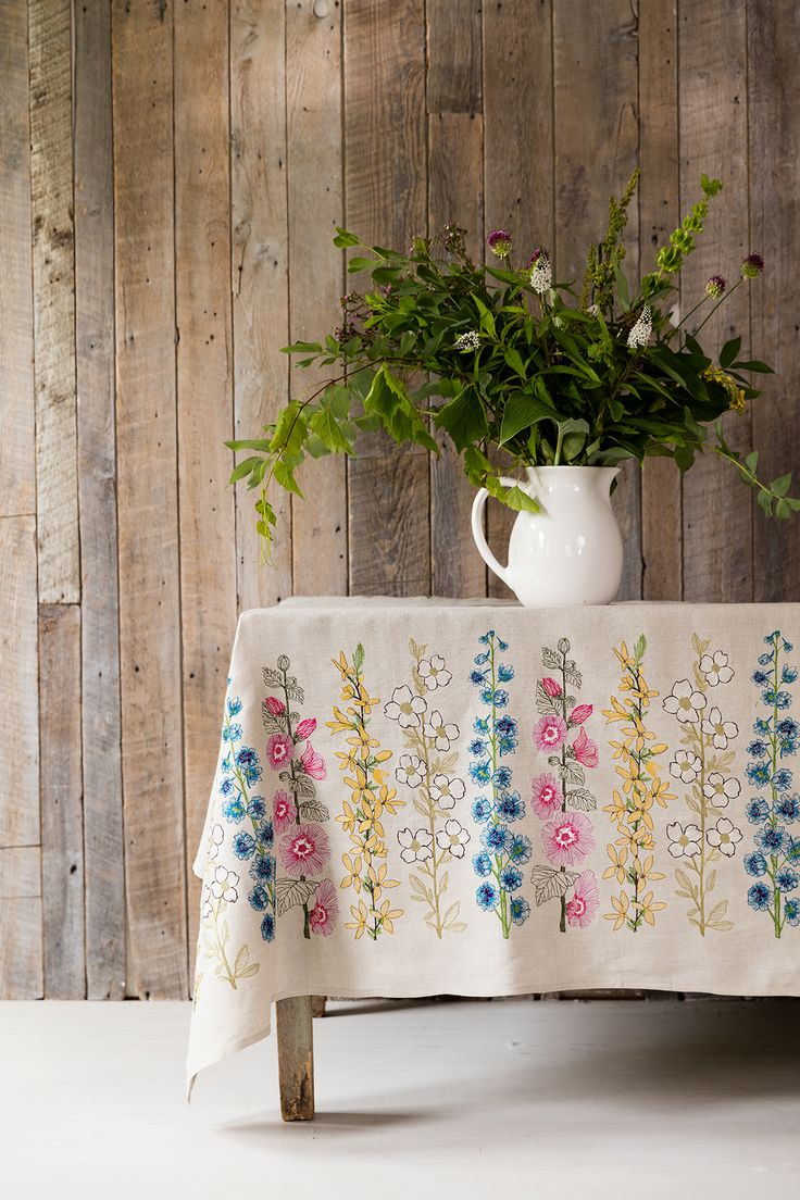 How to make a fabric table cover - Coral Tusk Flowers Border Embroidered Fabric Photo By Kate Lacey