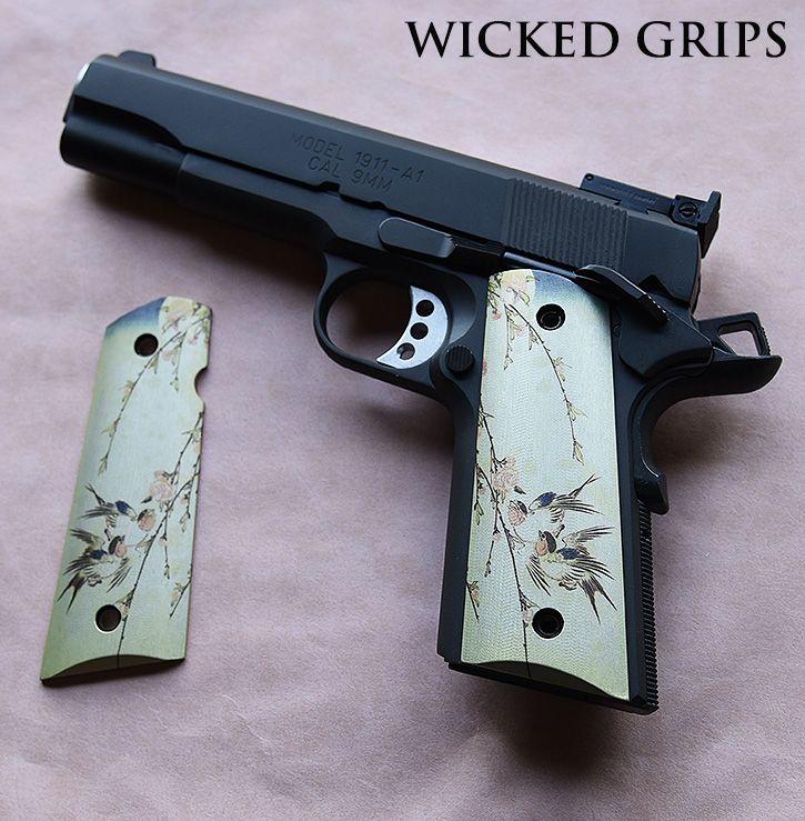 "CUSTOM 1911 GRIPS ""JAPANESE BIRDS VER 1"" - Wicked Grips"