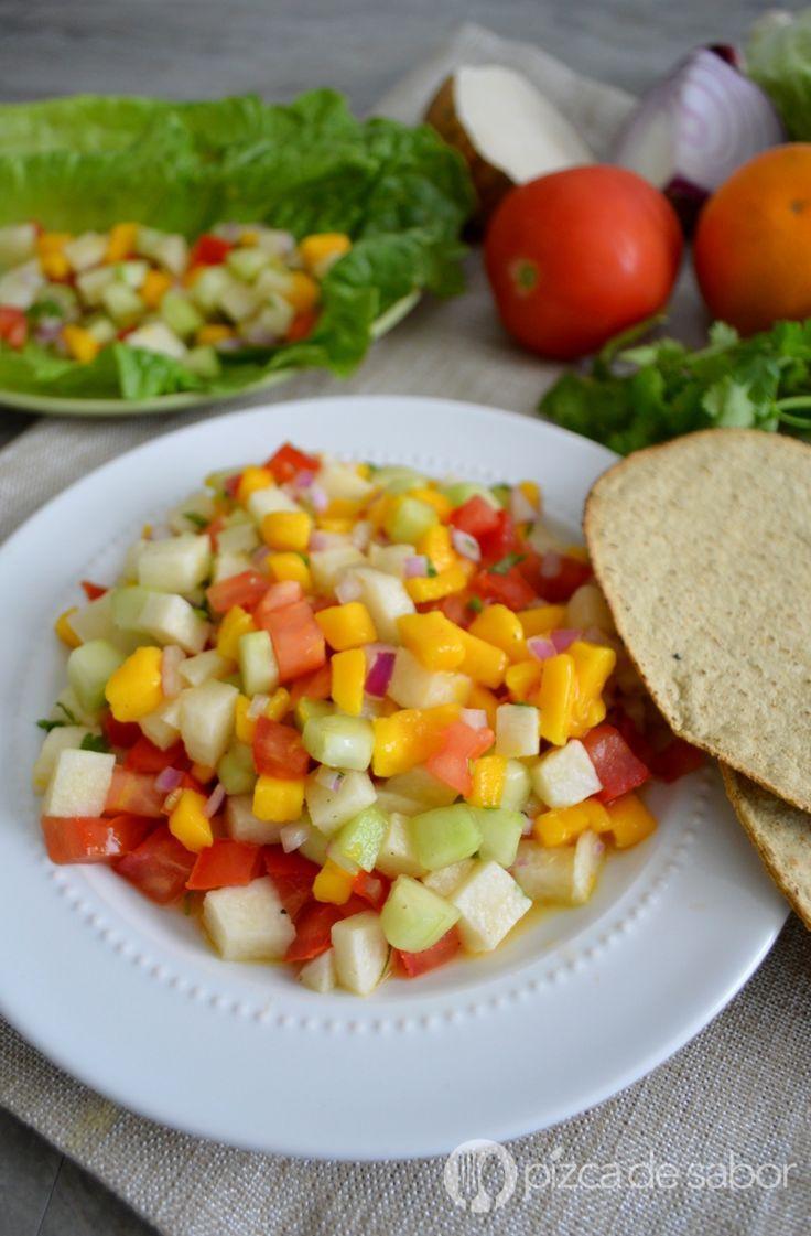 Ensalada de jícama y mango (fácil y saludable) www.pizcadesabor.com