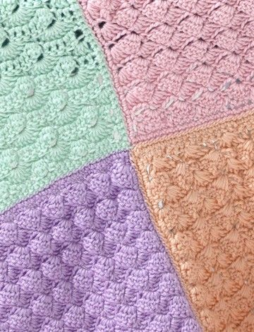 "Caron Sampler Squares Baby Blanket - Patterns | 36"" x 47"" / intermediate / FREE CROCHET pattern / looks great in the various colours"
