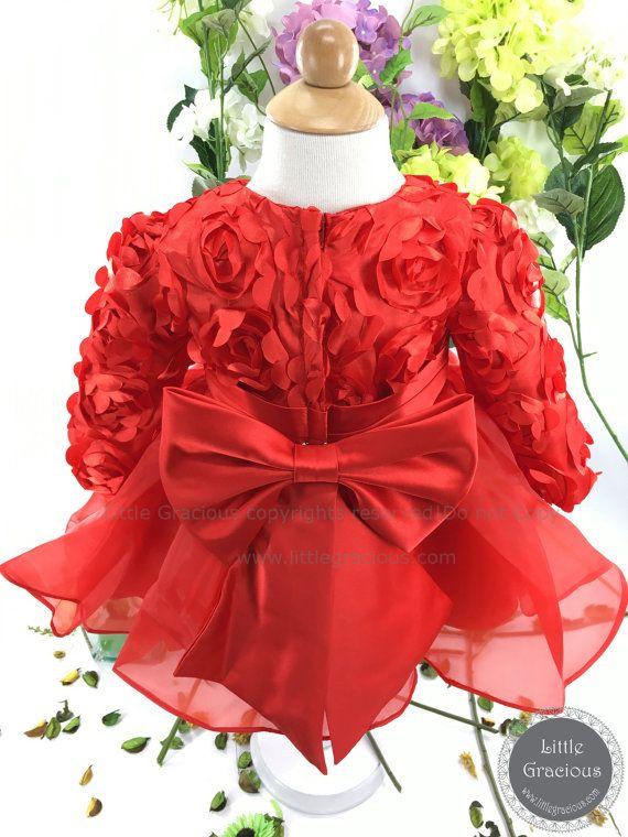 Vestido del desfile niño rojo con mangas largas vestido de