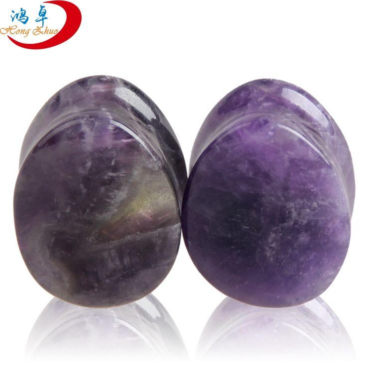 Semi Precious Stone TearDrop Shape Glass Ear Plugs For Women And Men