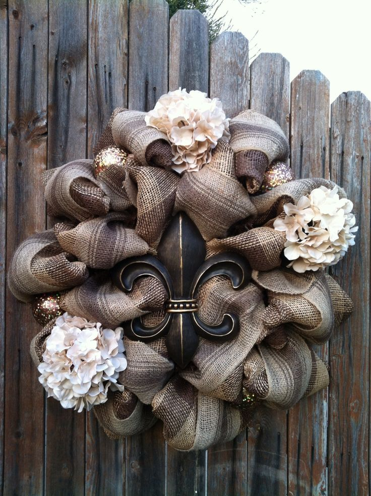 Deco Mesh Fleur de Lis Wreath Chocolate Brown by GoblinsandHolly, $98.00