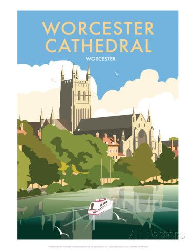 Worcester Cathedral - Dave Thompson Contemporary Travel Print Posters by Dave Thompson - AllPosters.co.uk
