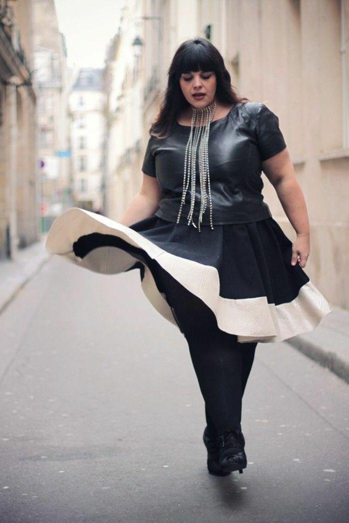 robe bimatière chic, robe pour femme ronde, jupe évasée en noir et blanc,
