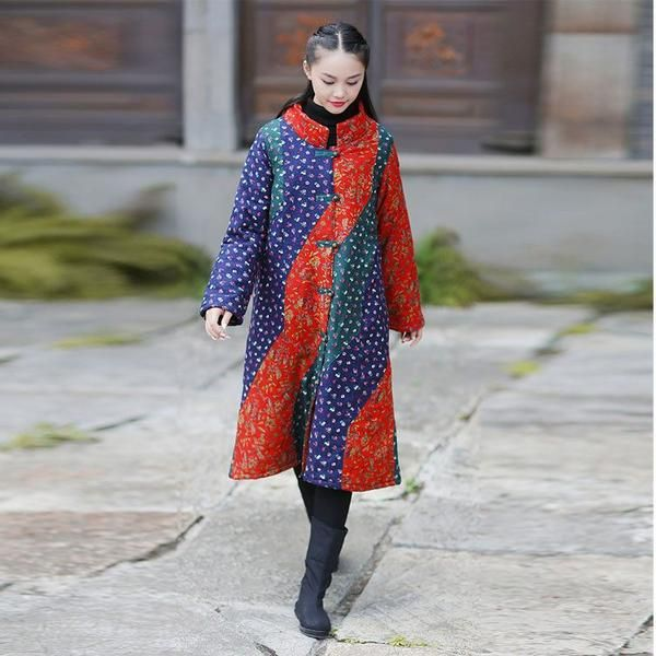 Coat - Women Winter Ethnic Style Mixed Color Cotton Linen Long Overcoat
