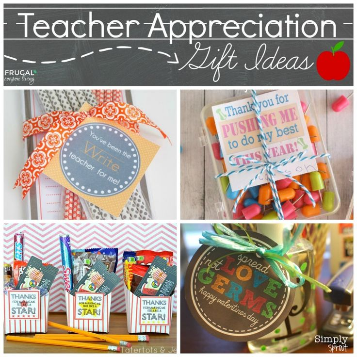 Teacher Appreciation Gift Ideas on Frugal Coupon Living - Round-Up of great Teacher Apprecition Week Ideas plus FREE Printables for you touuse for gifts.