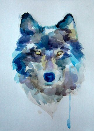 урок рисования акварелью - «Волк» (этап №5)