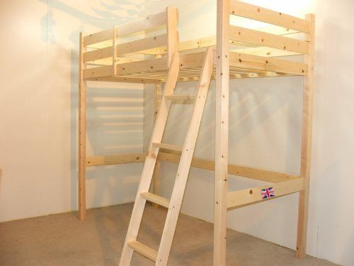 loft bunk bed 3ft single wooden high sleeper bunkbed ladder can go left or right can be. Black Bedroom Furniture Sets. Home Design Ideas