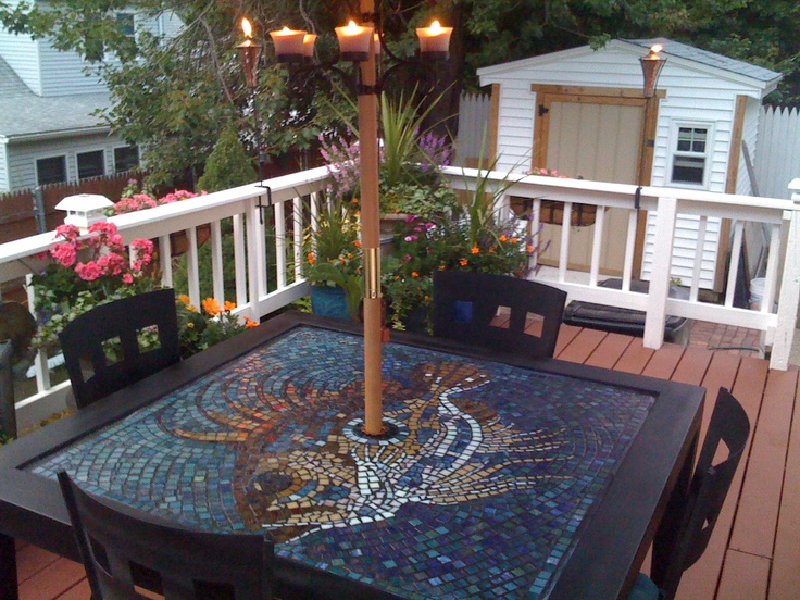 Mosaic fish tabletop i made from vitreous glass tiles on an outdoor patio table that i purchased - Basics mosaic tiles patios ...