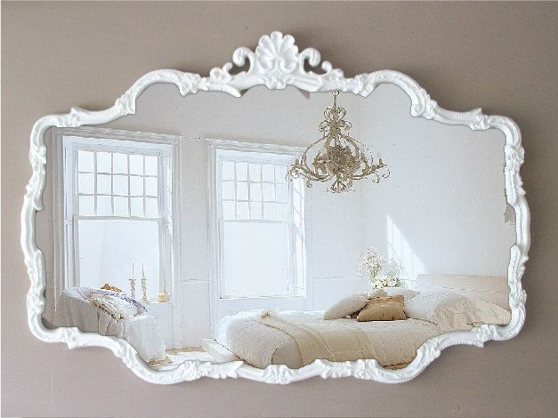 Vintage Cottage Chic Mirror, Huge Shabby Chic Mirror ~ girls bathroom                                                                                                                                                                                 More