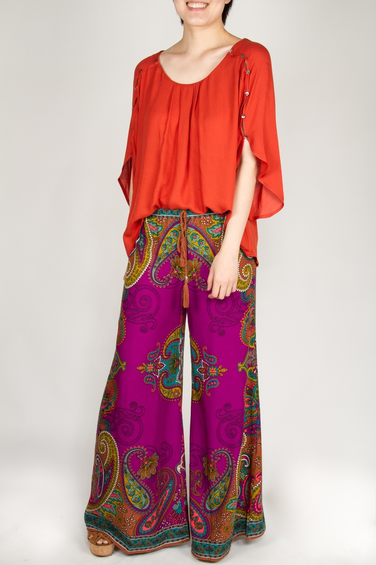 Shirt design with palazzo - Love This Shirt Palazzo Pant Perfection In Blue And Mauve 79 Raglan Sleeve Blouse