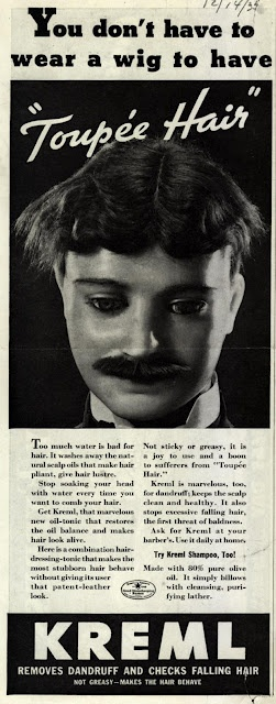 "You don't have to wear a wig to have ""toupée hair"", and you don't have to be made out of plastic to have ""ventriloquist dummy face""."