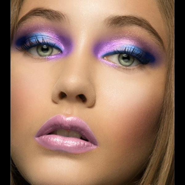 violet eye makeup & lips