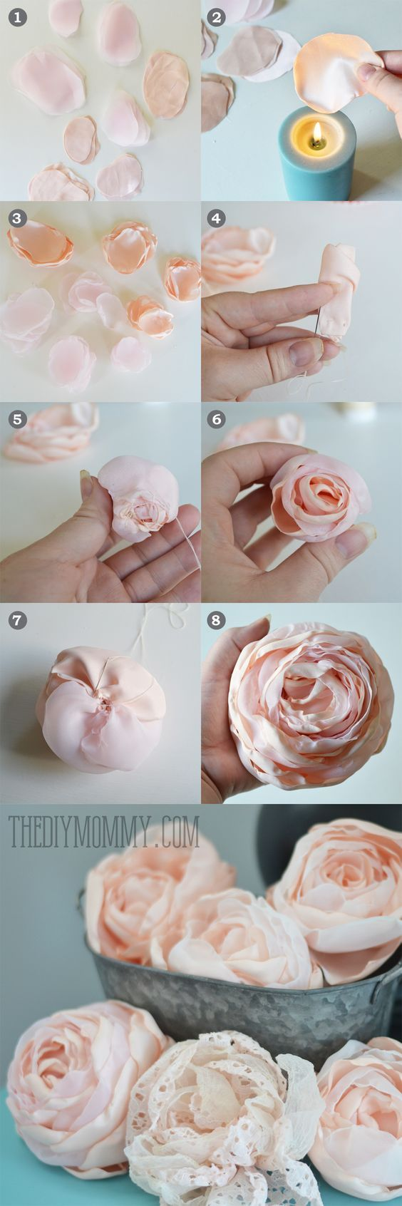 DIY Fabric Peonies or Cabbage Roses Tutorial by The DIY Mommy: