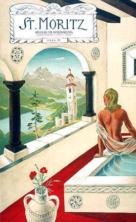 St Moritz, Switzerland.  c.1940s  Artist is Hugo Laubi (1888 - 1959)
