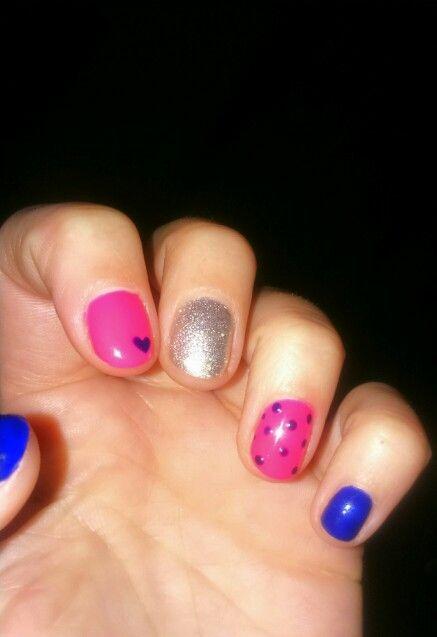 #cute #pink #indigo #nails #heart #dots