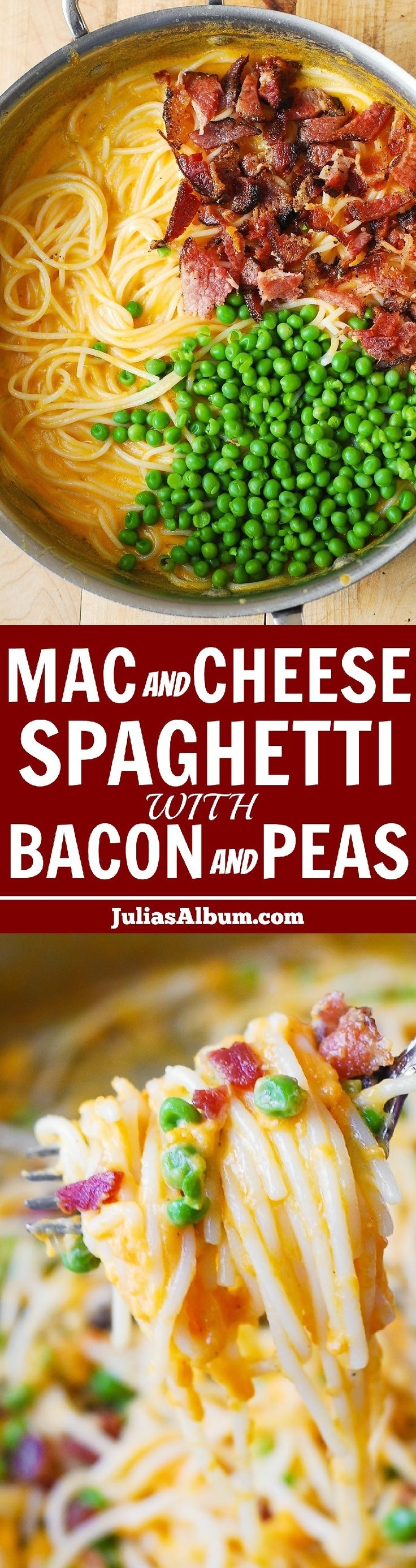 Mac and Cheese Spaghetti with Bacon and Peas (in a flavorful cheddar sauce). 30-minute