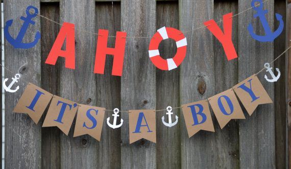 AHOY Its A Boy BANNER NAUTICAL THEME INSPIRED  This listing gives you the option of purchasing the AHOY Banner or both the AHOY and Its A Boy Banner (Please make your selection at checkout by selecting from the drop down box)  PLEASE NOTE THE AHOY ITS A BOY FAVOR TAGS IN THE LISTING PICTURES ARE SOLD SEPARATELY, IF YOU WOULD LIKE TO PURCHASE THESE PLEASE CLICK ON THE LINK BELOW: https://www.etsy.com/listing/290062963/12-ahoy-its-a-boy-favor-tagsbaby-shower  AHOY Banner detail: Measurements…
