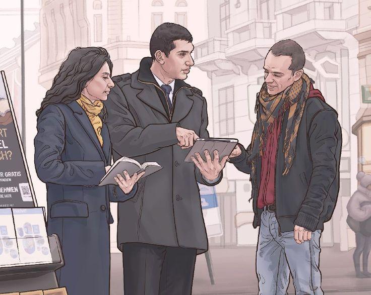 Des Témoins de Jéhovah se tenant à côté d'un présentoir mobile et prêchant à un homme