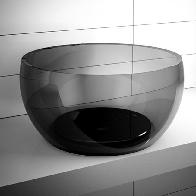 REGIA  Il lavabo Pouf a firma di Bruna Rapisarda è realizzato in tecnoglass bianco e nero, in LivingTec laccato e in vetroghiaccio trasparente.