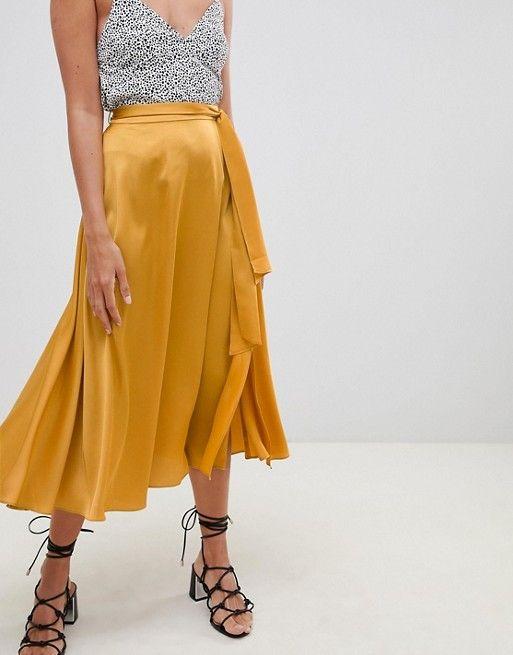 7173a723cf DESIGN satin midi skirt with self belt in 2019 | Wish List | Satin ...