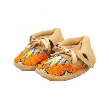 Each child of mine has their own pair of beaded moccasins ♡ A gift from their Great-grandma :)
