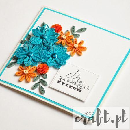 quilling, husking, handmade, DIY, greeting card, paperart, birthday, ecocraft.pl
