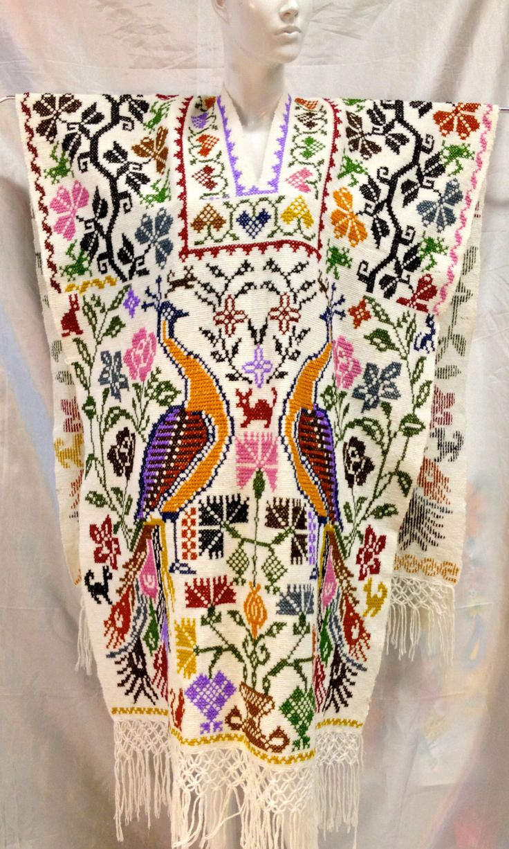 Cross stitched Peacocks Jorongo (Poncho)