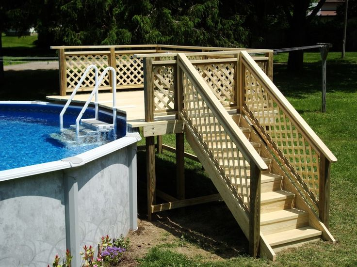 Splendid Gates for Pool Deck with Lattice Wooden Fence Panels also Free Standing Wooden Decks for Above Ground Swimming Pools Decks Ideas from Pool Tiles, Pool Decks, Pool Coping