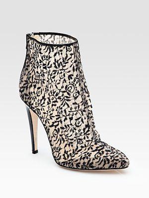 Lace and Patent Leather Ankle Boots  Bottega Veneta
