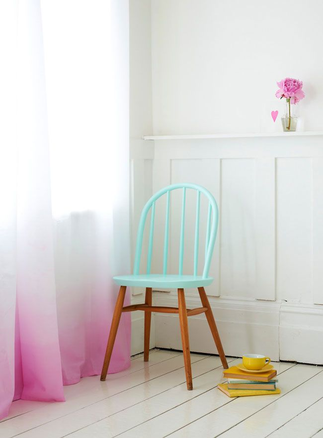 So many things in this picture I want to do: the two-tone chair, dip-dye curtains, wainscotting on the walls, woodpaneled floors.... #diy #paint #furniture