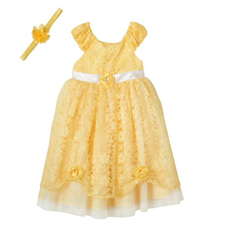 Girls 4-6x Disney Princess Belle Costume Dress, Girl's, Size: 6X, Yellow Oth