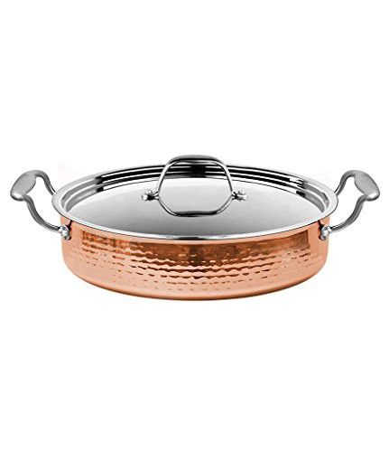 Fleischer & Wolf Seville Series 3.9QT Copper Saute Pan with cover - Stovetop Grill Pan