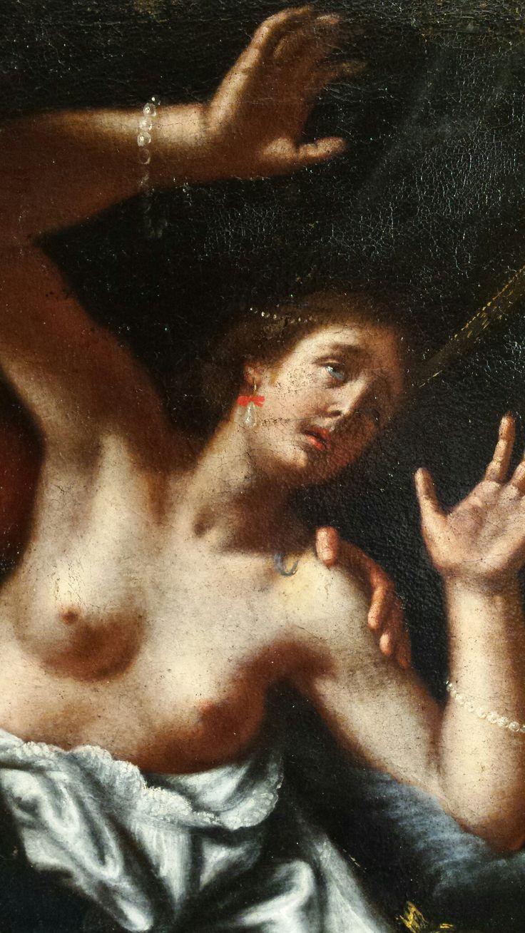 Tarquinius & Lucretia. Pictura sec XVIII. Detaliu din timpul restaurării.