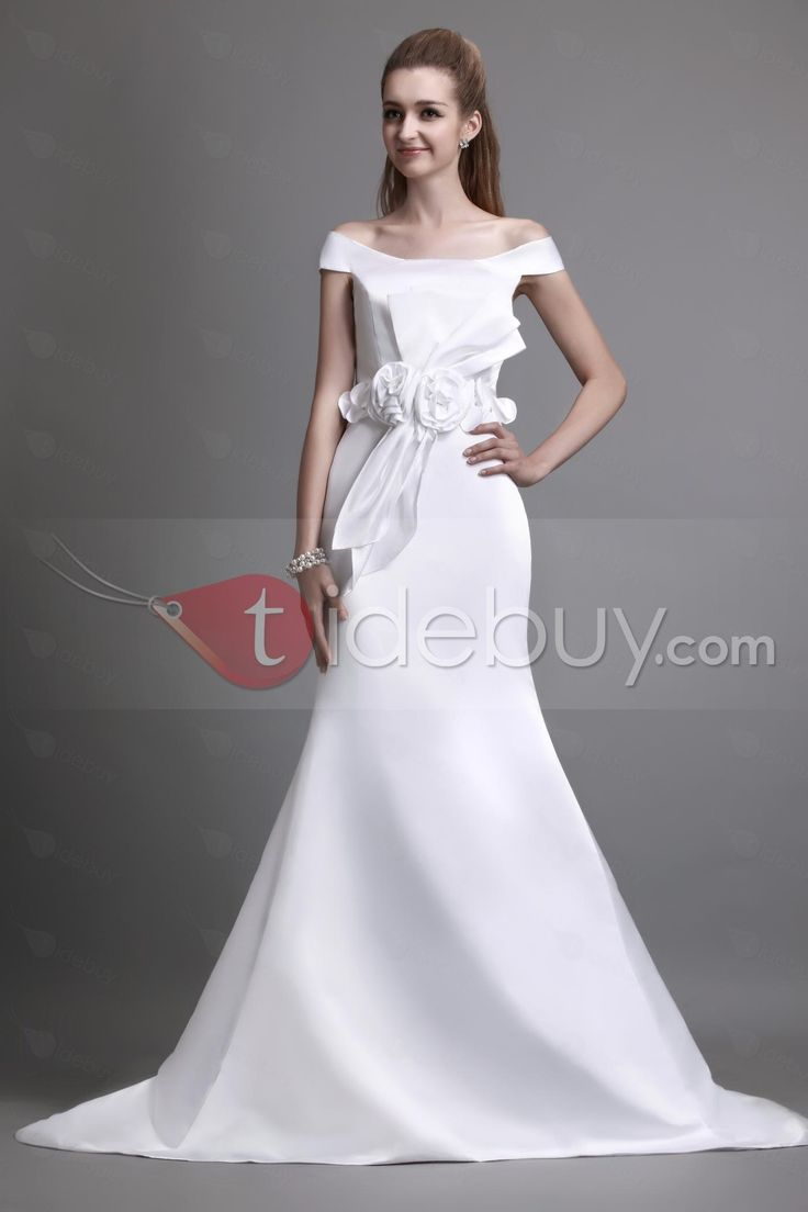 Attractive Off-the-shoulder A-line Chapel Train Flowers Angerlika's Wedding Dress