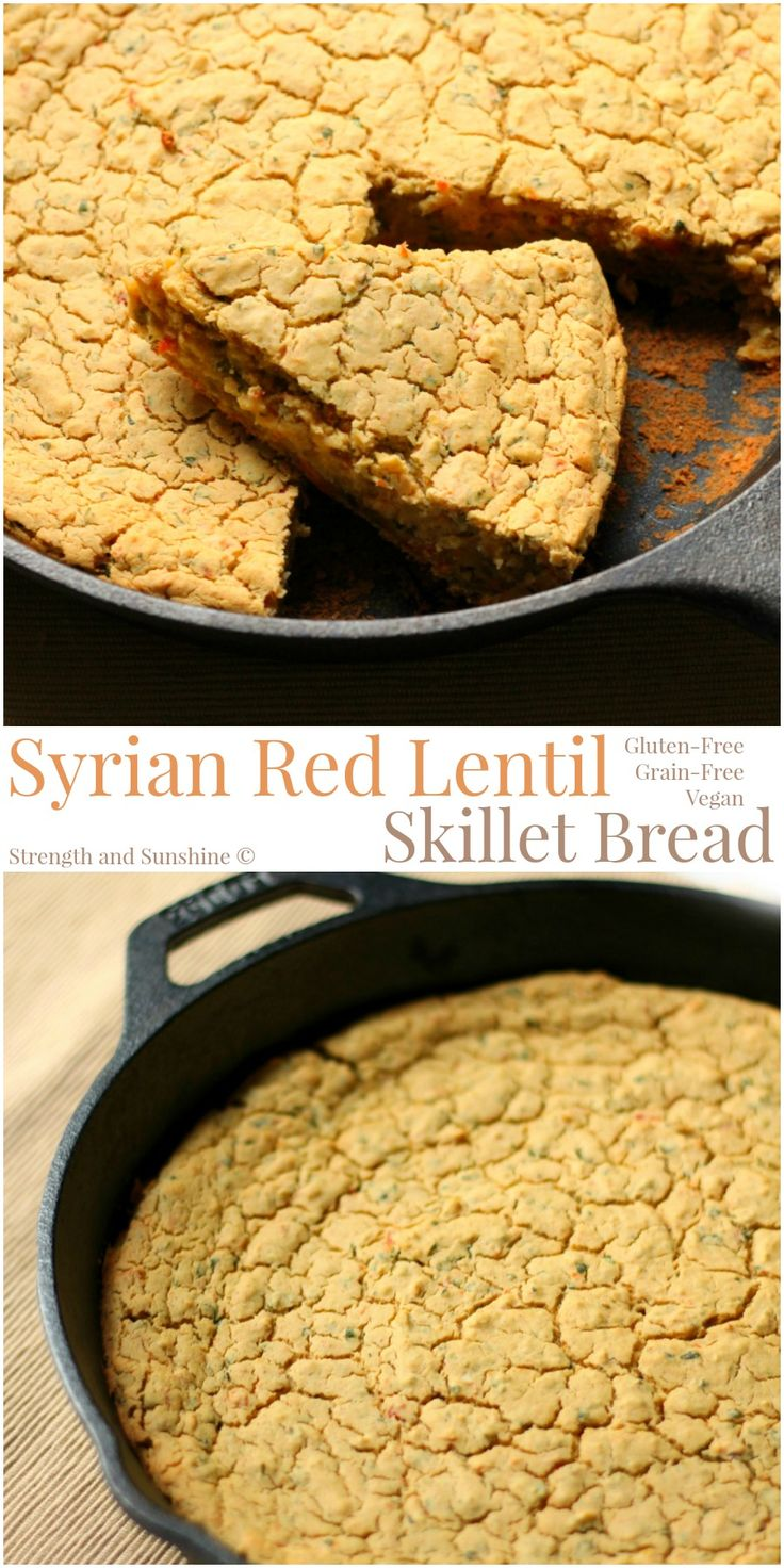 Syrian Red Lentil Skillet Bread | Strength and Sunshine @RebeccaGF666 A Syrian-inspired red lentil skillet bread, bursting with flavorful spices, herbs, and roasted red pepper. Gluten-free, grain-free, and vegan, this easy lentil skillet bread will wow your guests and make dinner memorable.