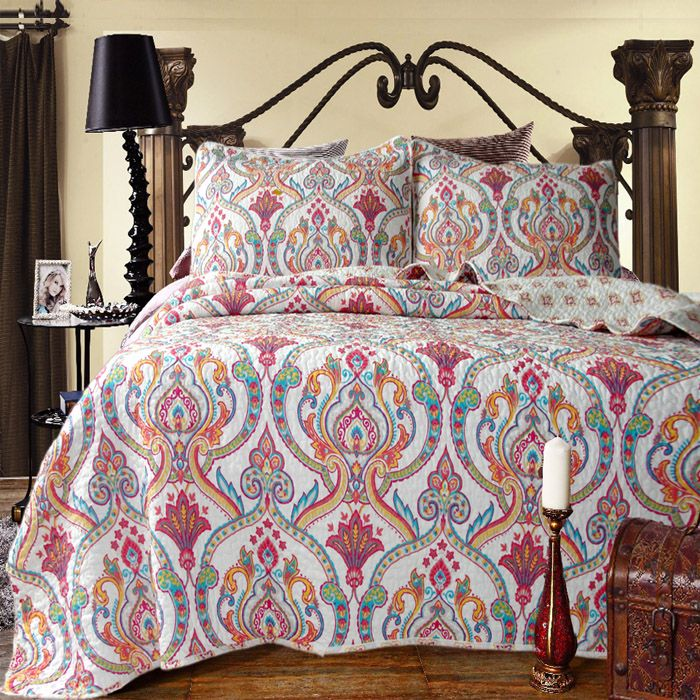 Find More Information About Flowers Quilting Bed Cover Three Piece Set  Cotton Bedspread Water Washed Patchwork