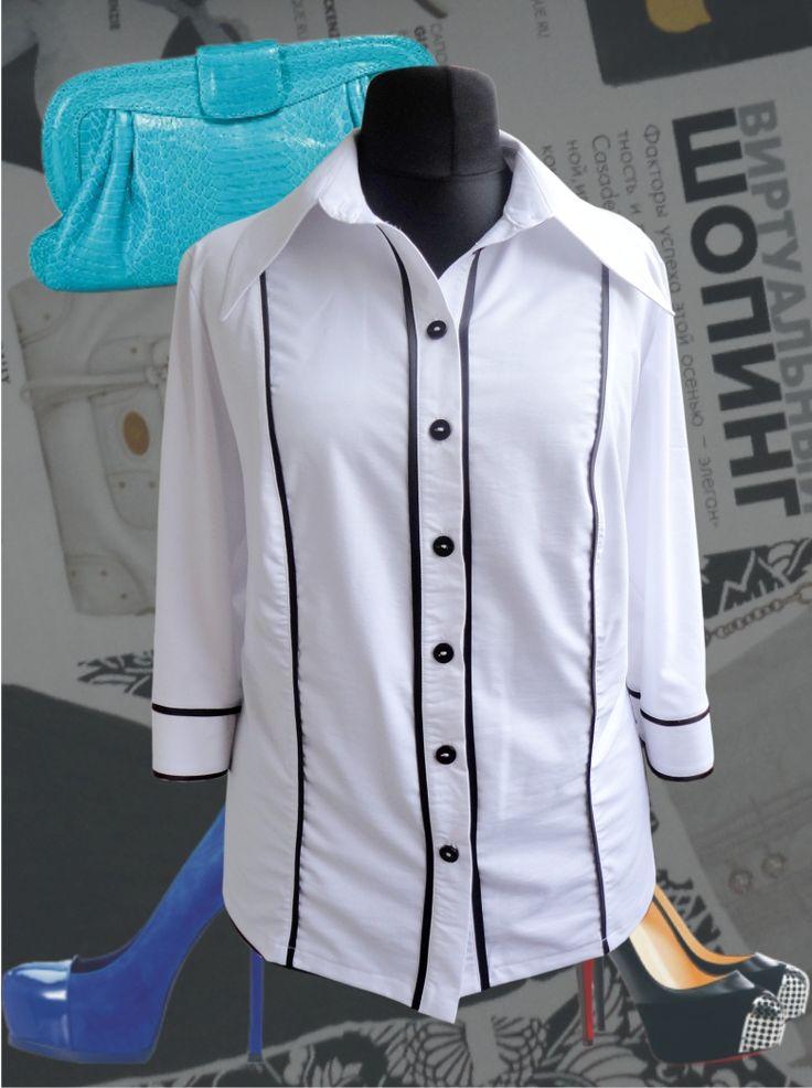 46$ Белая блузка для полных женщин с атласными вставками Артикул 374, р50-64 Белые блузки большие размеры Деловые блузки большие размеры Офисные блузки большие размеры  Блузки классические большие размеры Блузки дизайнерские большие размеры  Блузки с длинным рукавом большие размеры