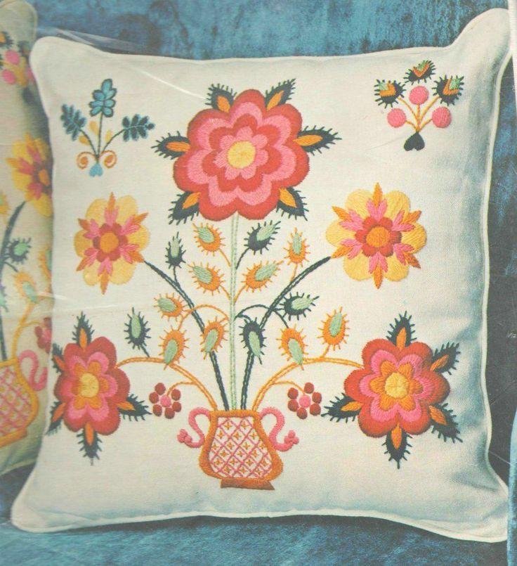 Vintage paragon quot floral pot crewel embroidery kit sealed
