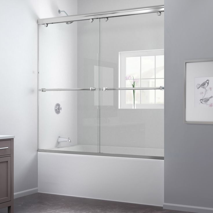 The Charisma tub door has a unique no wall profile design, combining the beauty of frameless glass with the convenience the sliding bypass operation. Most bypass shower doors require significant aluminum framing.