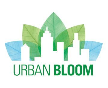 Urban Bloom Logo. A skyscraper and some leaves.