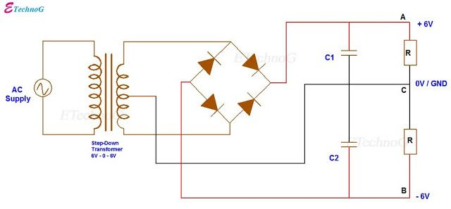 Bipolar Output Full Wave Bridge Rectifier With Center Tapped Transformer Electrical Circuit Diagram Electrical Diagram Circuit Diagram