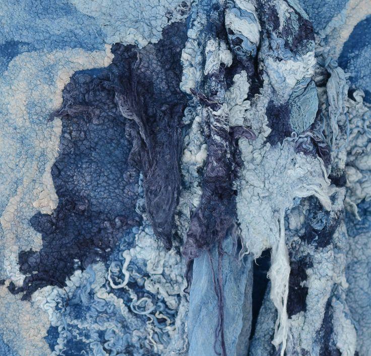 fiber painting detail. wool, silk, flax. Natural dyeing: indigo. by vilte.net
